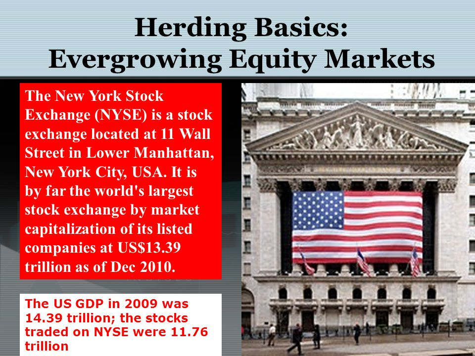 Herding Basics: Evergrowing Equity Markets The New York Stock Exchange (NYSE) is a stock exchange located at 11 Wall Street in Lower Manhattan, New York City, USA.