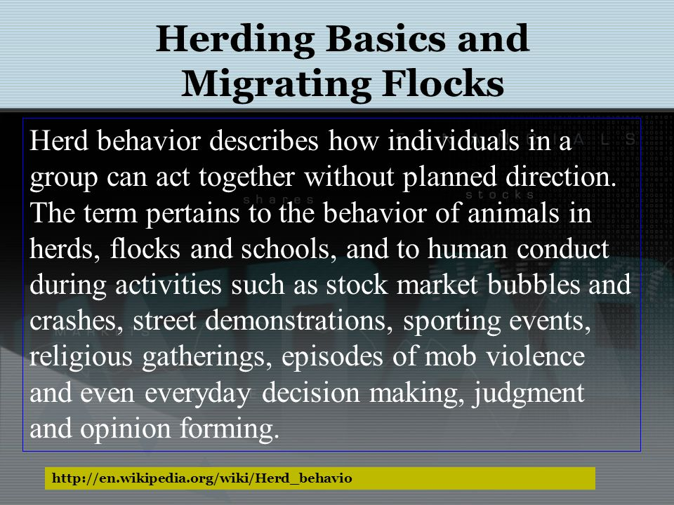 http://en.wikipedia.org/wiki/Herd_behavio Herding Basics and Migrating Flocks Herd behavior describes how individuals in a group can act together with