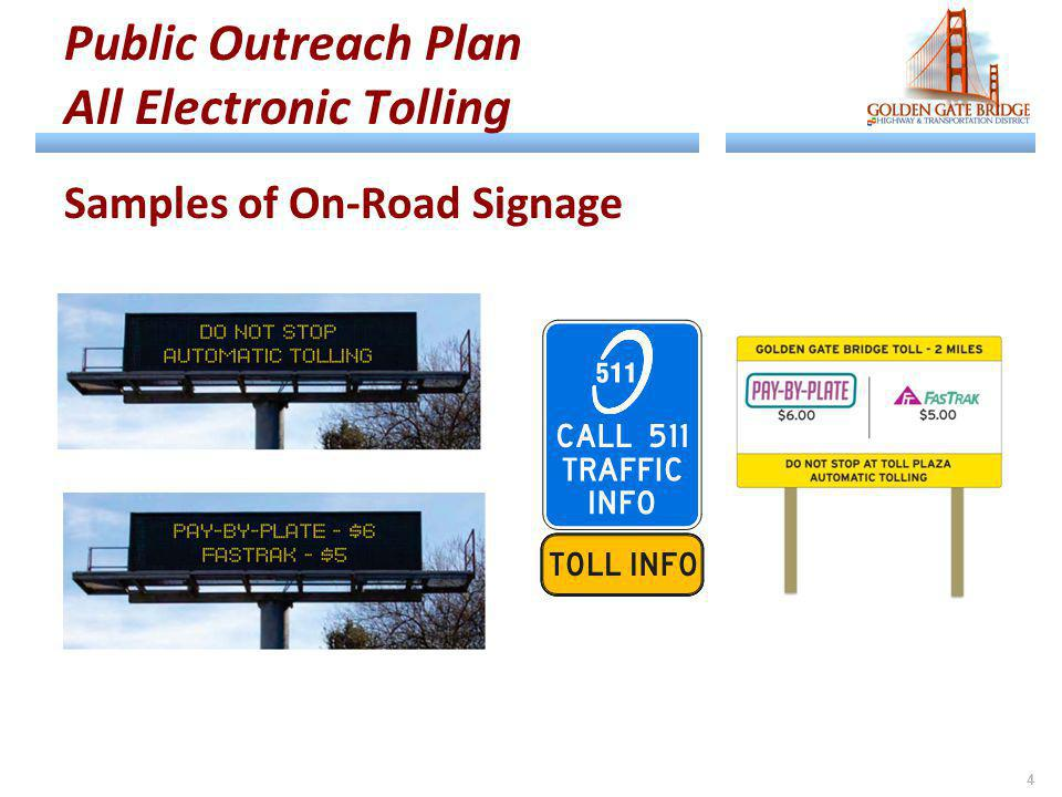 Public Outreach Plan All Electronic Tolling Samples of On-Road Signage 4