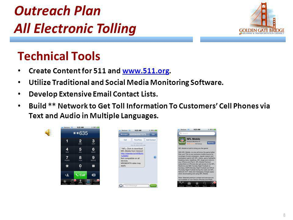 Technical Tools Create Content for 511 and www.511.org.www.511.org Utilize Traditional and Social Media Monitoring Software. Develop Extensive Email C