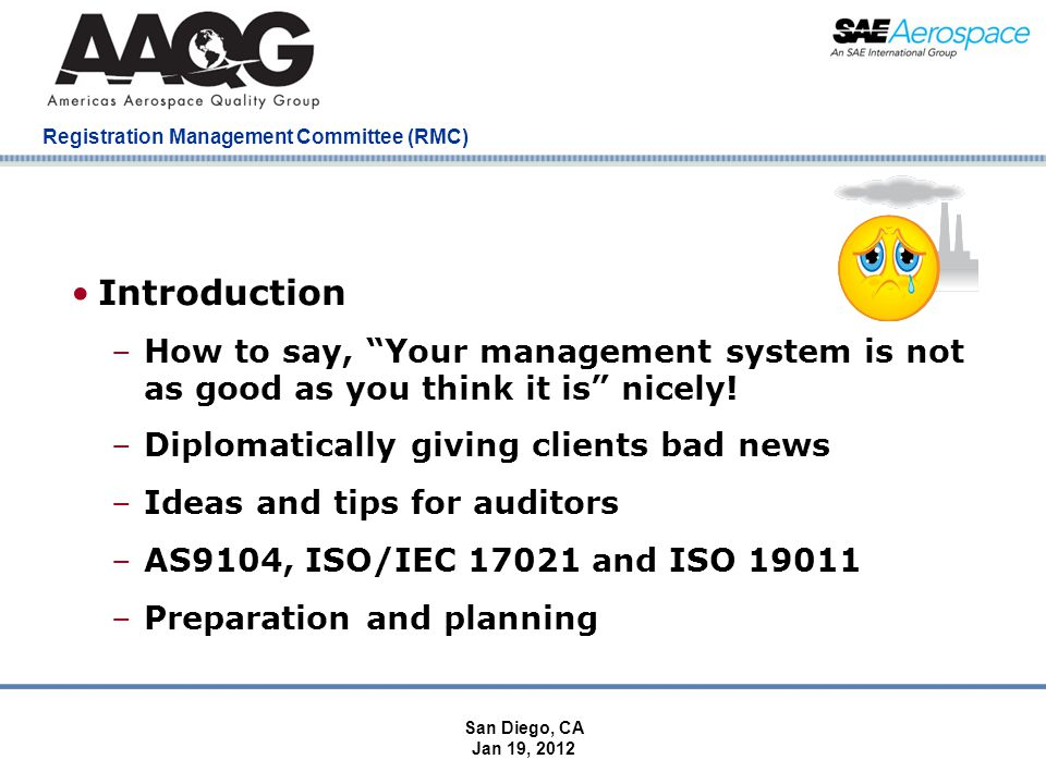 Company Confidential Registration Management Committee (RMC) Introduction –How to say, Your management system is not as good as you think it is nicely.