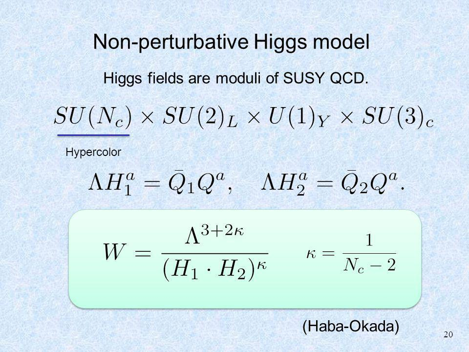 20 Non-perturbative Higgs model Higgs fields are moduli of SUSY QCD. (Haba-Okada) Hypercolor