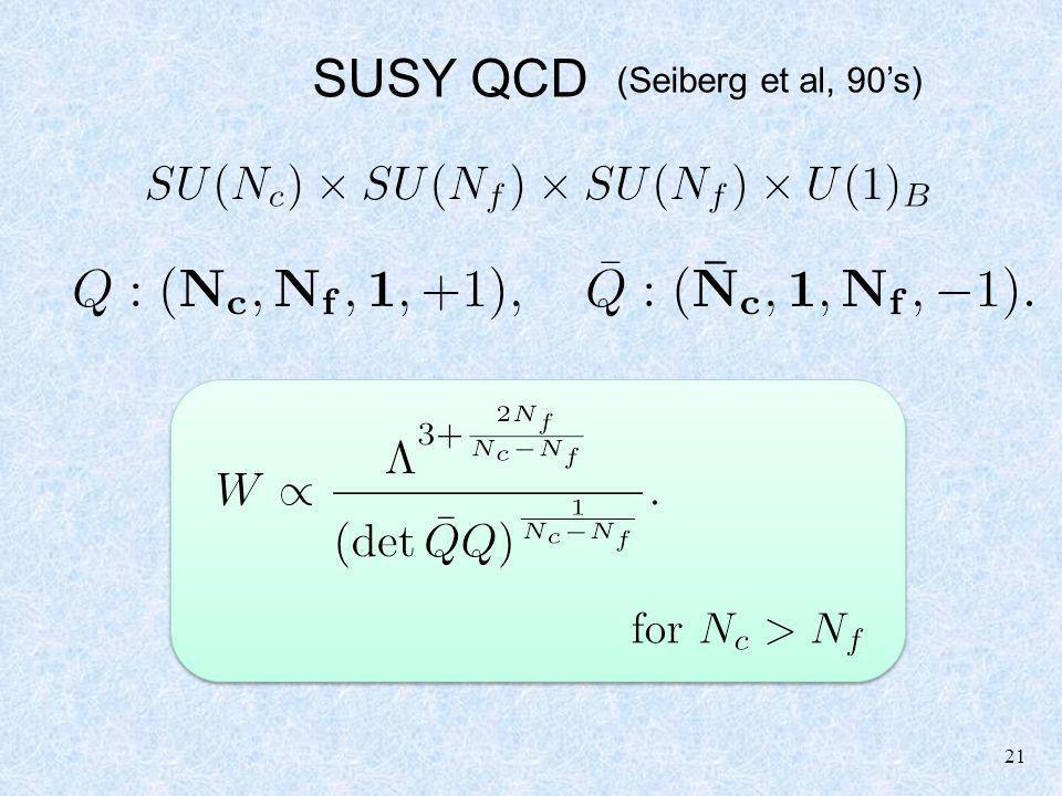 21 SUSY QCD (Seiberg et al, 90s)