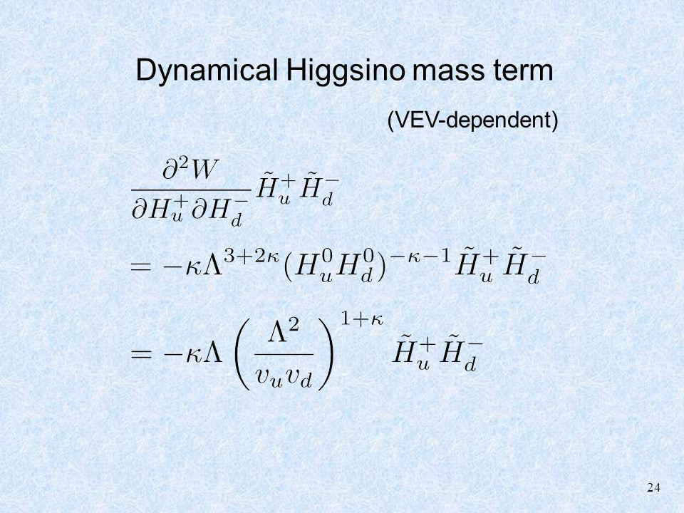 24 Dynamical Higgsino mass term (VEV-dependent)