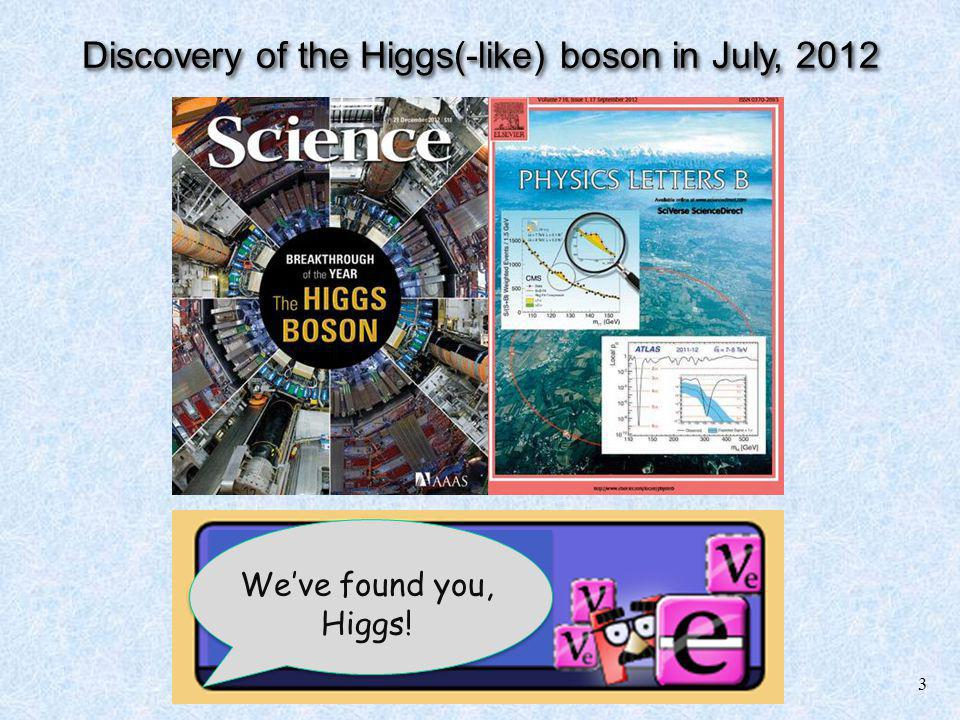 3 Weve found you, Higgs! Discovery of the Higgs(-like) boson in July, 2012