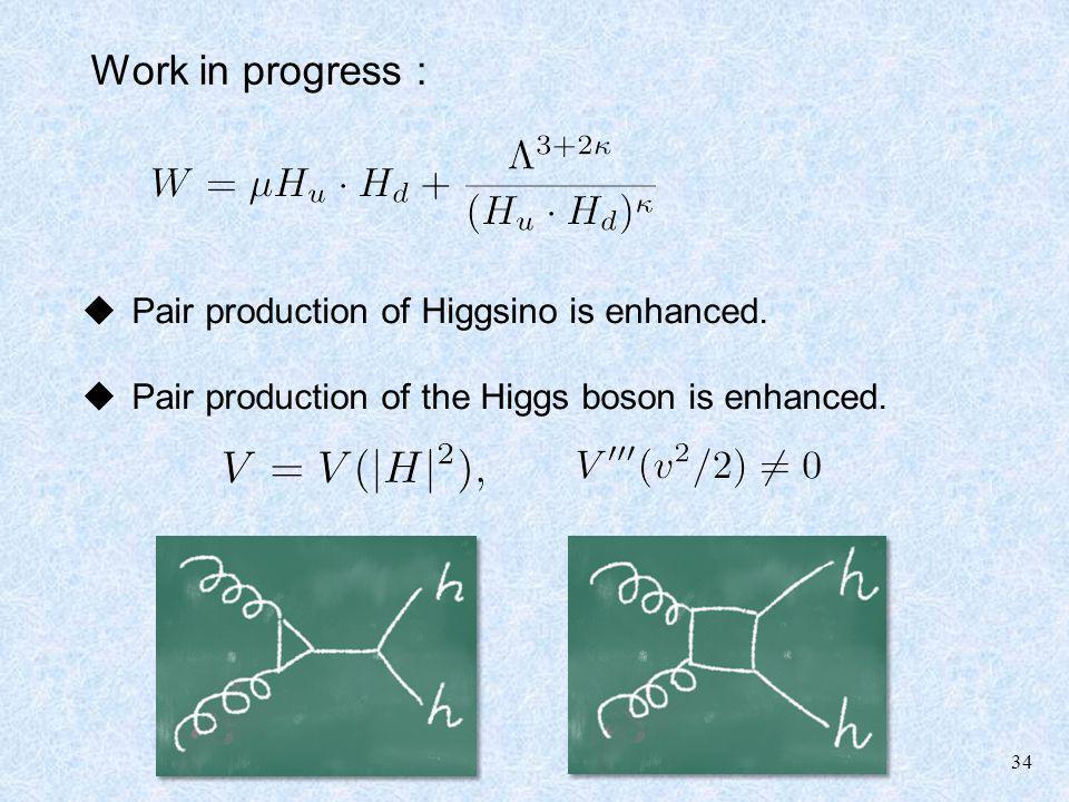 34 Work in progress : Pair production of Higgsino is enhanced. Pair production of the Higgs boson is enhanced.