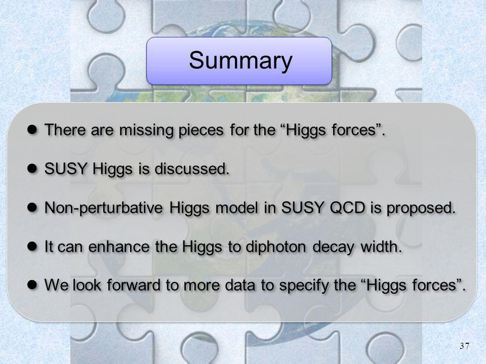 37 Summary There are missing pieces for the Higgs forces. There are missing pieces for the Higgs forces. SUSY Higgs is discussed. SUSY Higgs is discus
