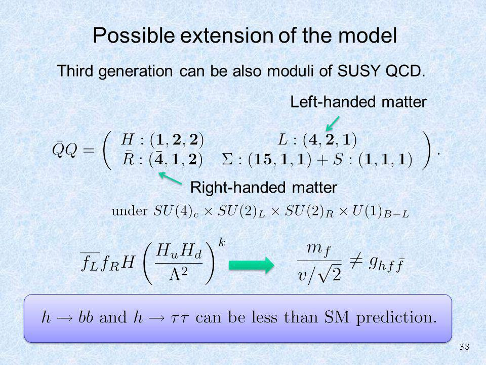 38 Possible extension of the model Third generation can be also moduli of SUSY QCD.