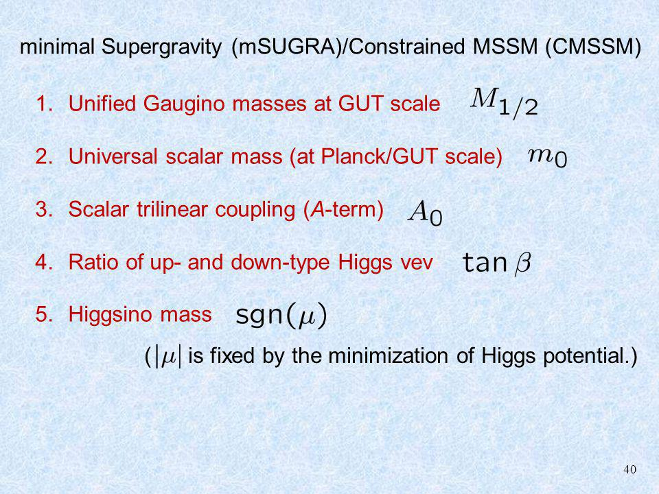 40 minimal Supergravity (mSUGRA)/Constrained MSSM (CMSSM) 1.Unified Gaugino masses at GUT scale 2.Universal scalar mass (at Planck/GUT scale) 3.Scalar
