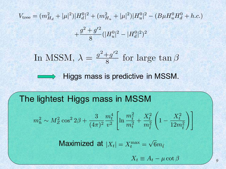 9 The lightest Higgs mass in MSSM Maximized at Higgs mass is predictive in MSSM.