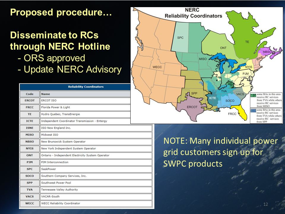 12 Proposed procedure… Disseminate to RCs through NERC Hotline - ORS approved - Update NERC Advisory NOTE: Many individual power grid customers sign up for SWPC products