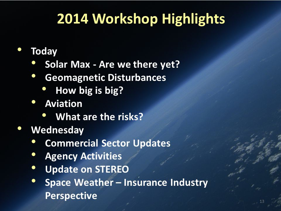2014 Workshop Highlights Today Solar Max - Are we there yet.