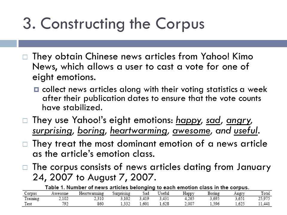 3. Constructing the Corpus They obtain Chinese news articles from Yahoo! Kimo News, which allows a user to cast a vote for one of eight emotions. coll