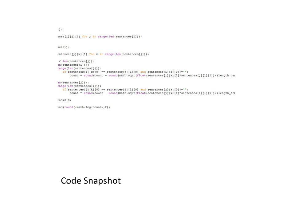 Code Snapshot