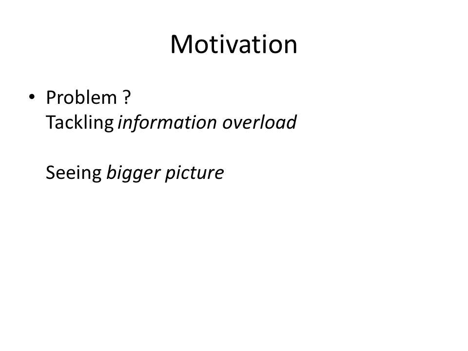 Motivation Problem ? Tackling information overload Seeing bigger picture Navigate between topics