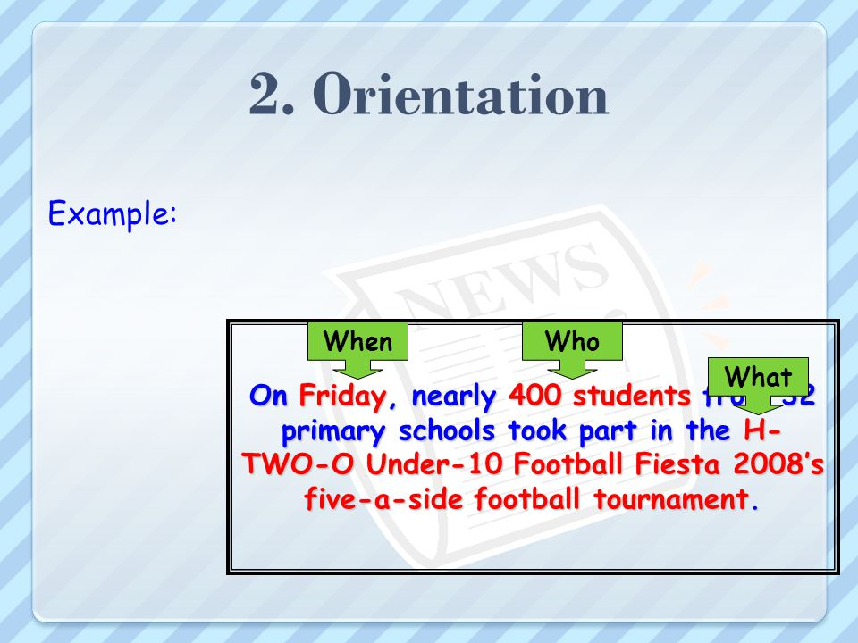 2. Orientation Introduces the story first paragraph (1 - 3sentences) Attention grabbing Summarizes main points in the article Clear, Concise, Correct