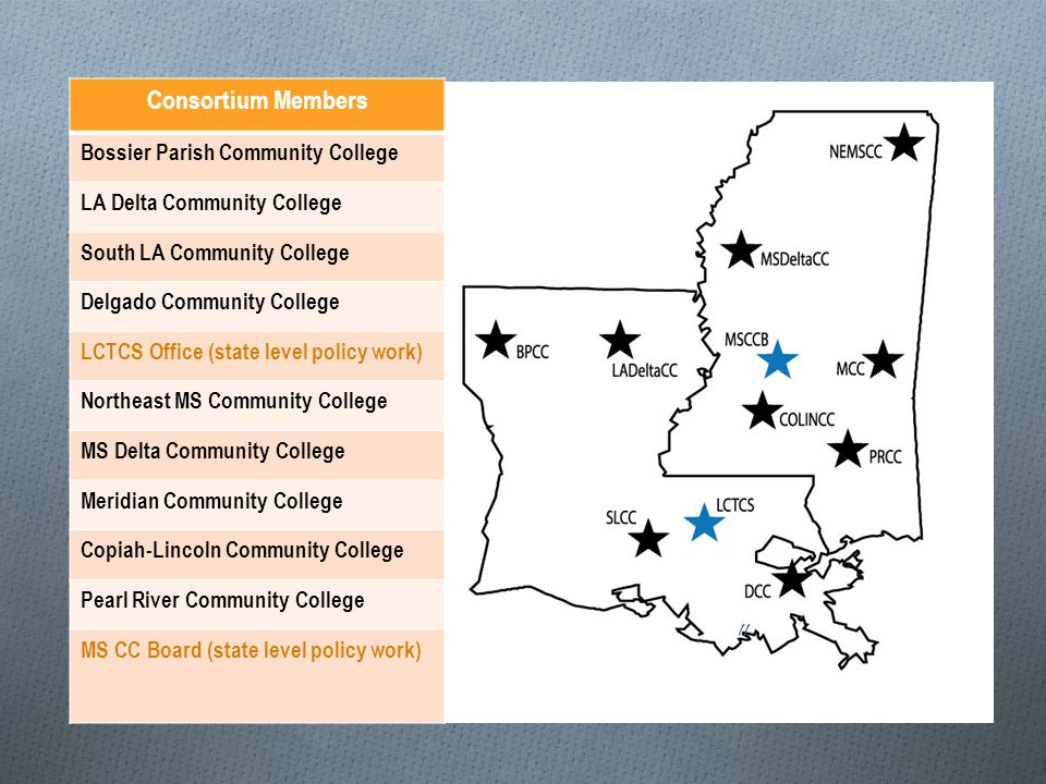Consortium Members Bossier Parish Community College LA Delta Community College South LA Community College Delgado Community College LCTCS Office (state level policy work) Northeast MS Community College MS Delta Community College Meridian Community College Copiah-Lincoln Community College Pearl River Community College MS CC Board (state level policy work) 11