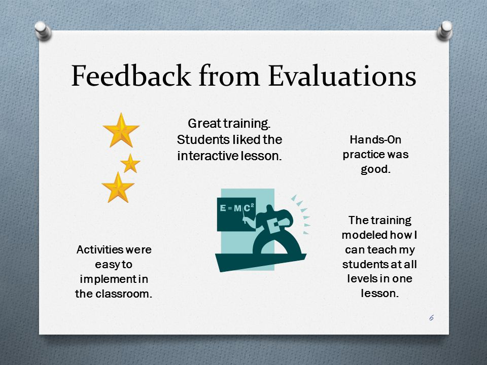 Feedback from Evaluations 6 Great training. Students liked the interactive lesson.