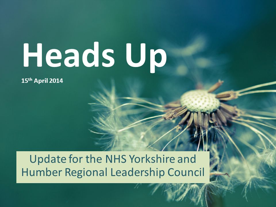 Heads Up 15 th April 2014 Update for the NHS Yorkshire and Humber Regional Leadership Council