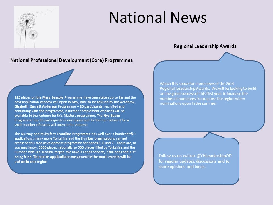 National News Watch this space for more news of the 2014 Regional Leadership Awards.