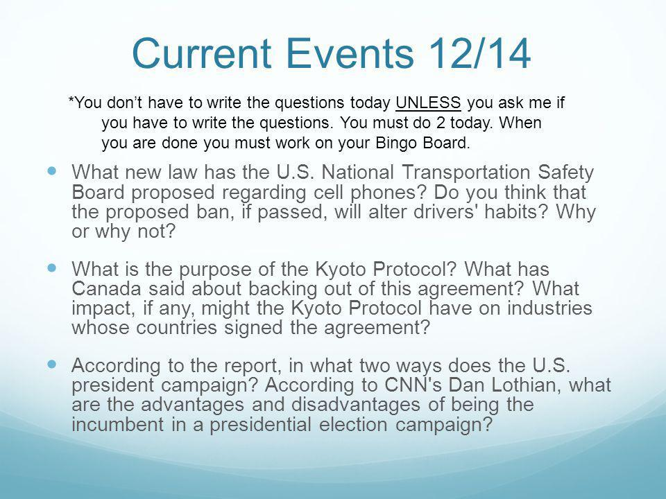 Current Events 12/14 What new law has the U.S.