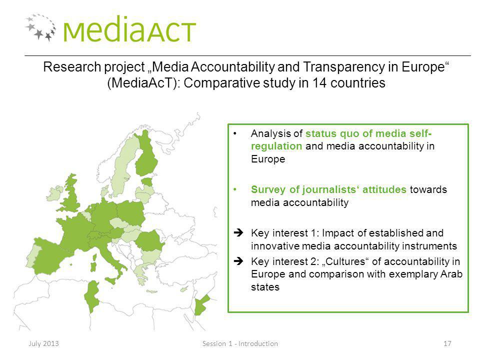 July 2013Session 1 - Introduction17 Research project Media Accountability and Transparency in Europe (MediaAcT): Comparative study in 14 countries Ana