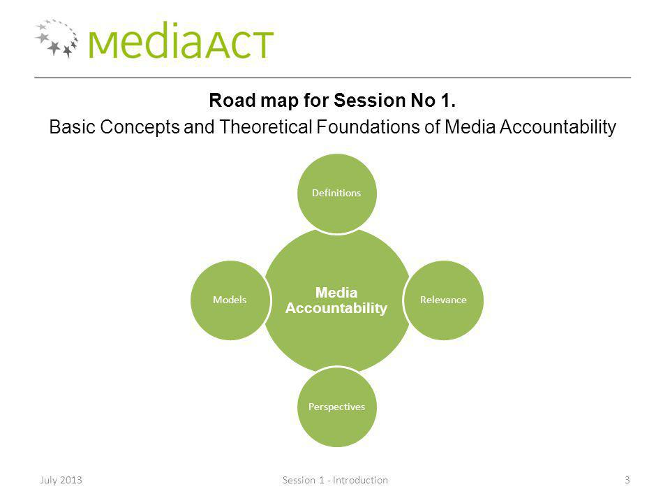 July 2013Session 1 - Introduction3 Road map for Session No 1. Basic Concepts and Theoretical Foundations of Media Accountability Media Accountability