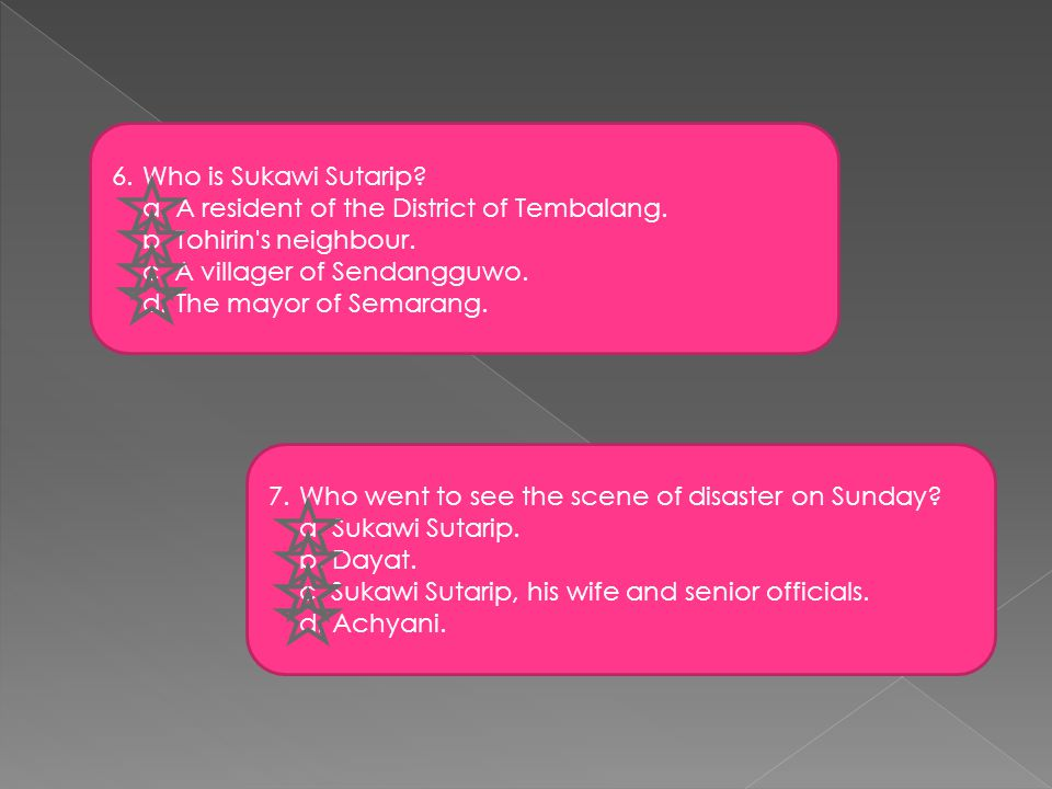 6.Who is Sukawi Sutarip. a. A resident of the District of Tembalang.