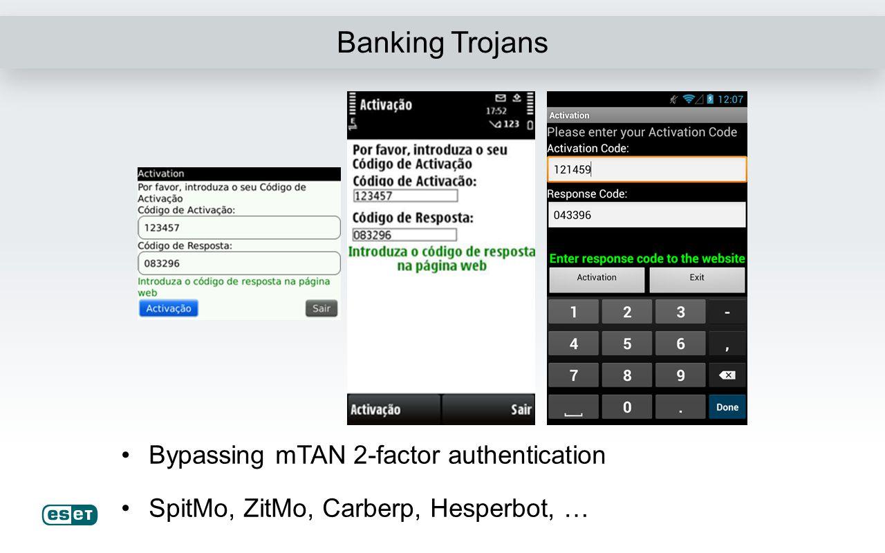 Banking Trojans Rogue token generation apps