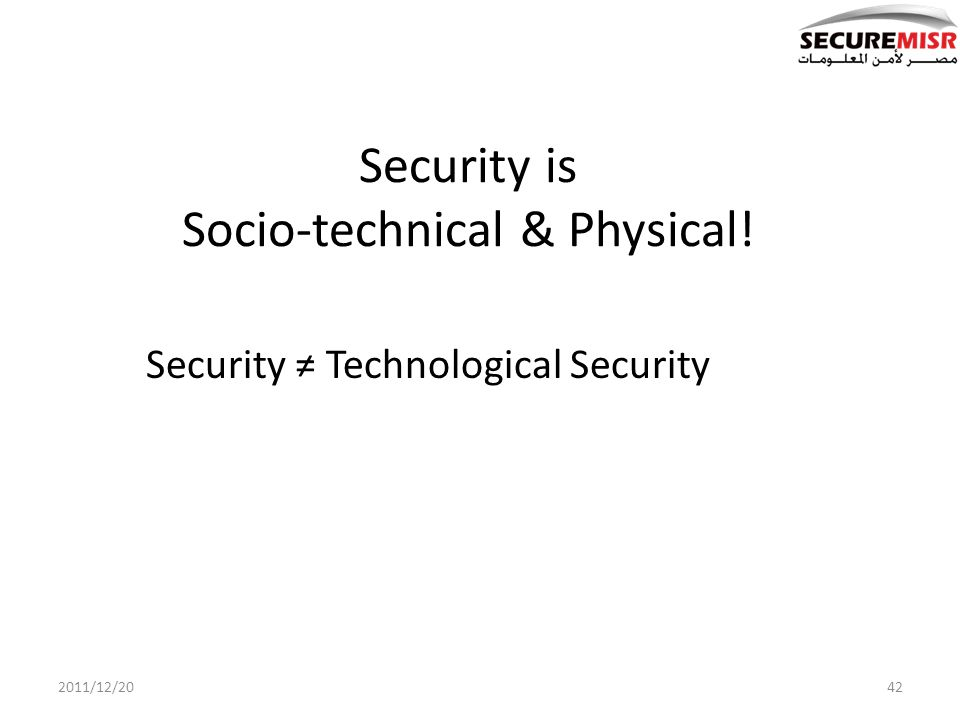 Security is Socio-technical & Physical! Security Technological Security 422011/12/20