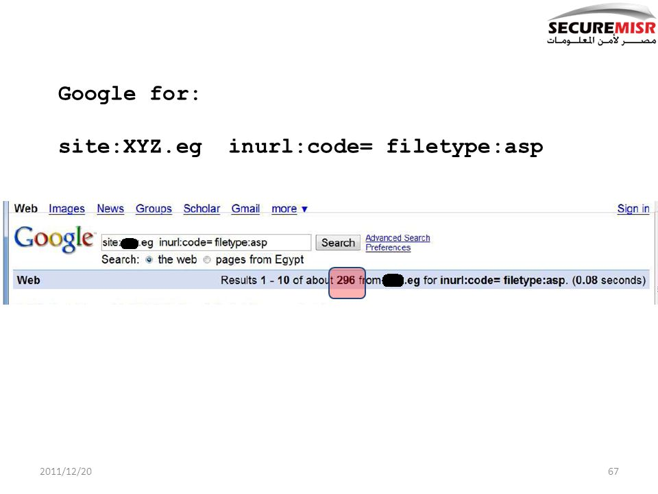 Google for: site:XYZ.eg inurl:code= filetype:asp 2011/12/2067