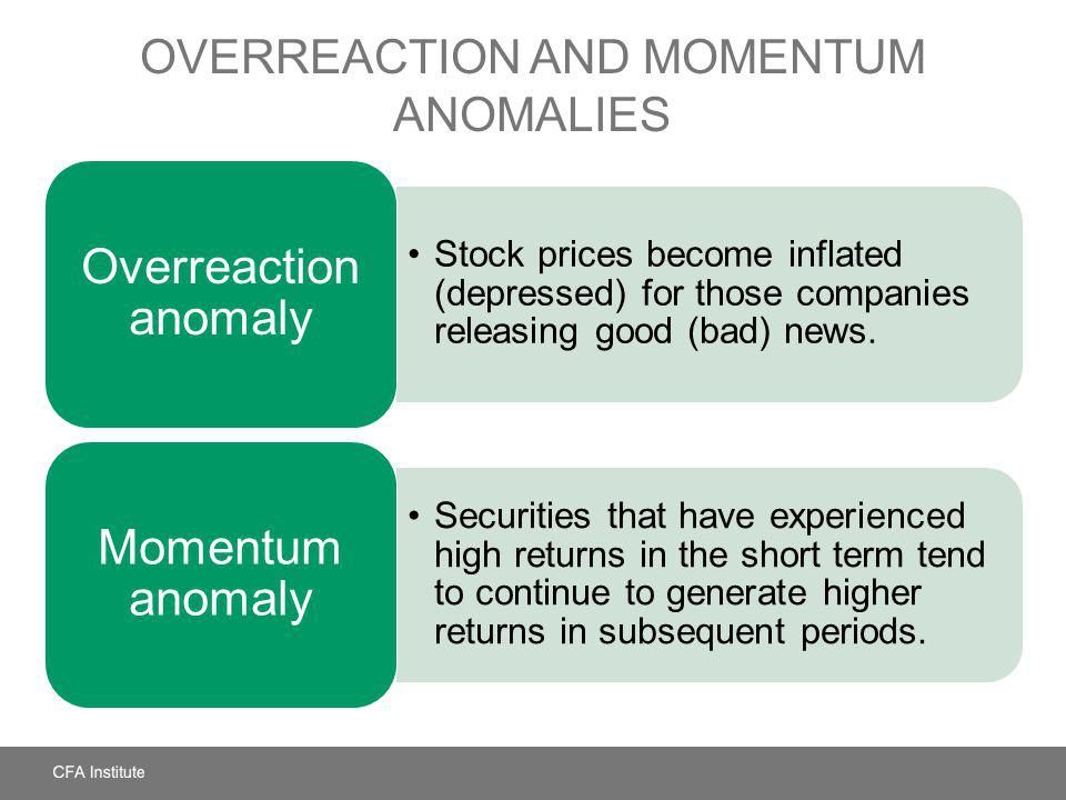 OVERREACTION AND MOMENTUM ANOMALIES Stock prices become inflated (depressed) for those companies releasing good (bad) news. Overreaction anomaly Secur