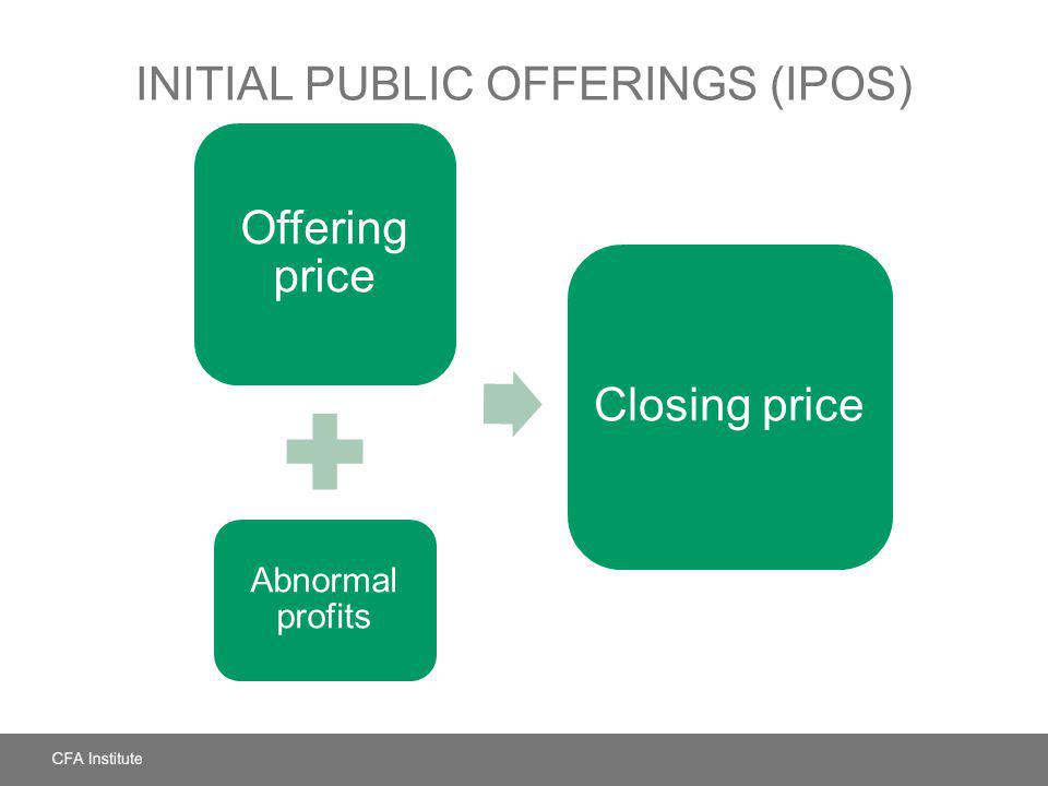 INITIAL PUBLIC OFFERINGS (IPOS) Offering price Abnormal profits Closing price