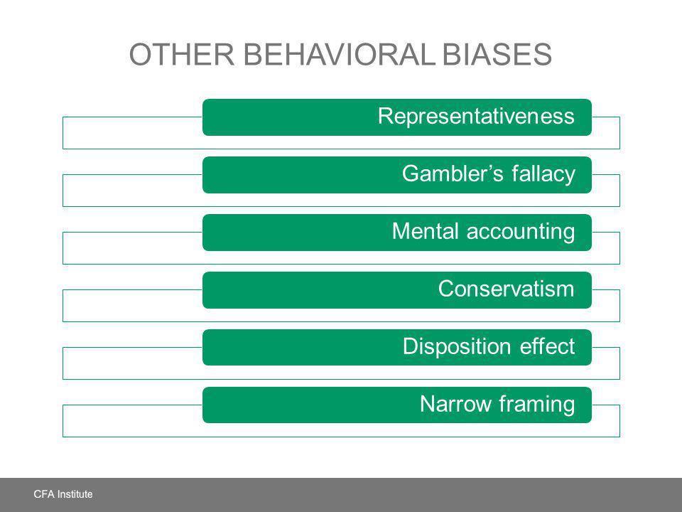 OTHER BEHAVIORAL BIASES RepresentativenessGamblers fallacyMental accountingConservatismDisposition effectNarrow framing
