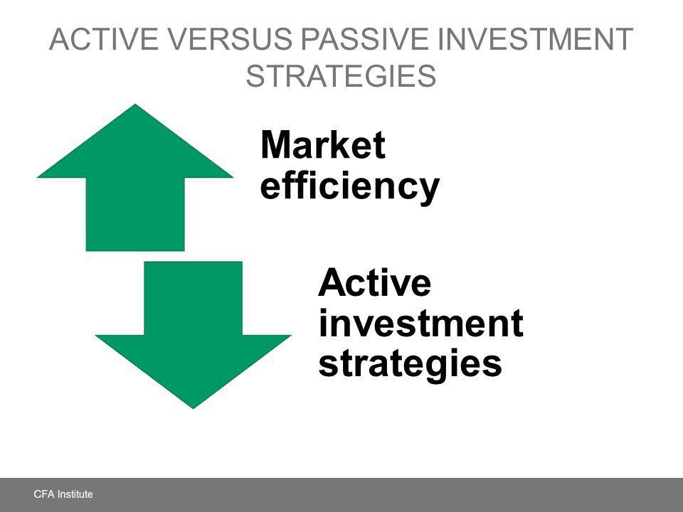 ACTIVE VERSUS PASSIVE INVESTMENT STRATEGIES Market efficiency Active investment strategies