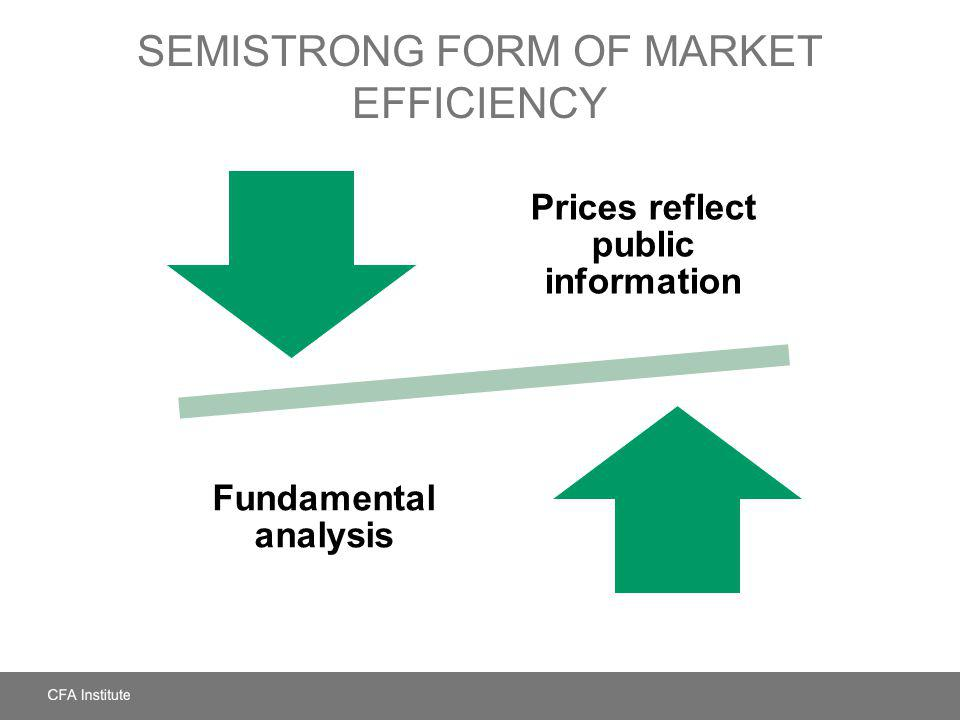 SEMISTRONG FORM OF MARKET EFFICIENCY Prices reflect public information Fundamental analysis