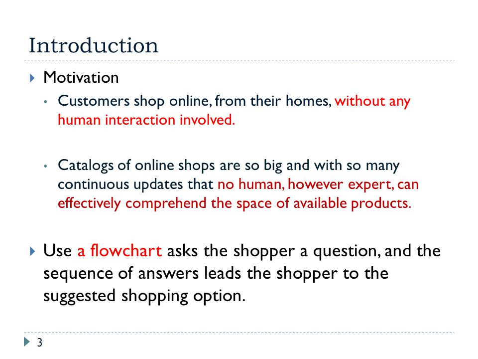 Introduction 3 Motivation Customers shop online, from their homes, without any human interaction involved.