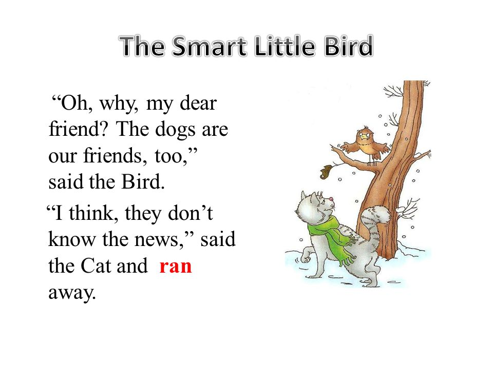 Oh, why, my dear friend. The dogs are our friends, too, said the Bird.
