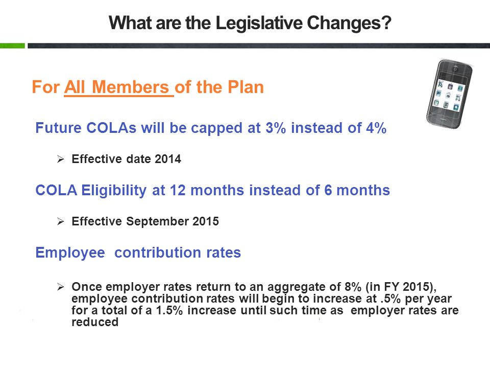 For All Members of the Plan Future COLAs will be capped at 3% instead of 4% Effective date 2014 COLA Eligibility at 12 months instead of 6 months Effe