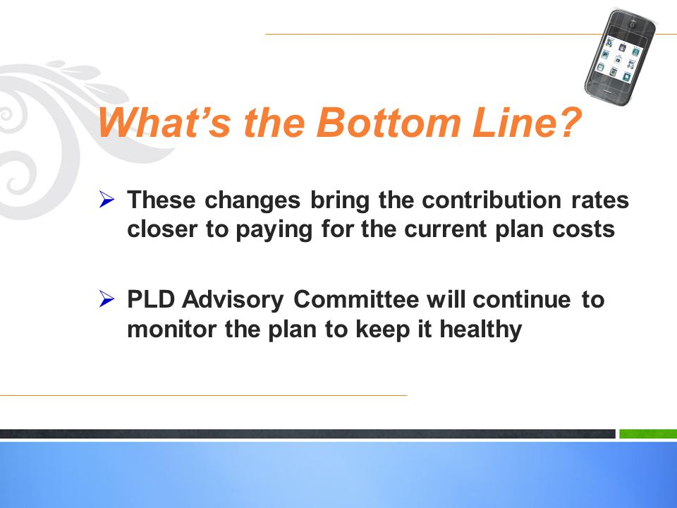Whats the Bottom Line? These changes bring the contribution rates closer to paying for the current plan costs PLD Advisory Committee will continue to