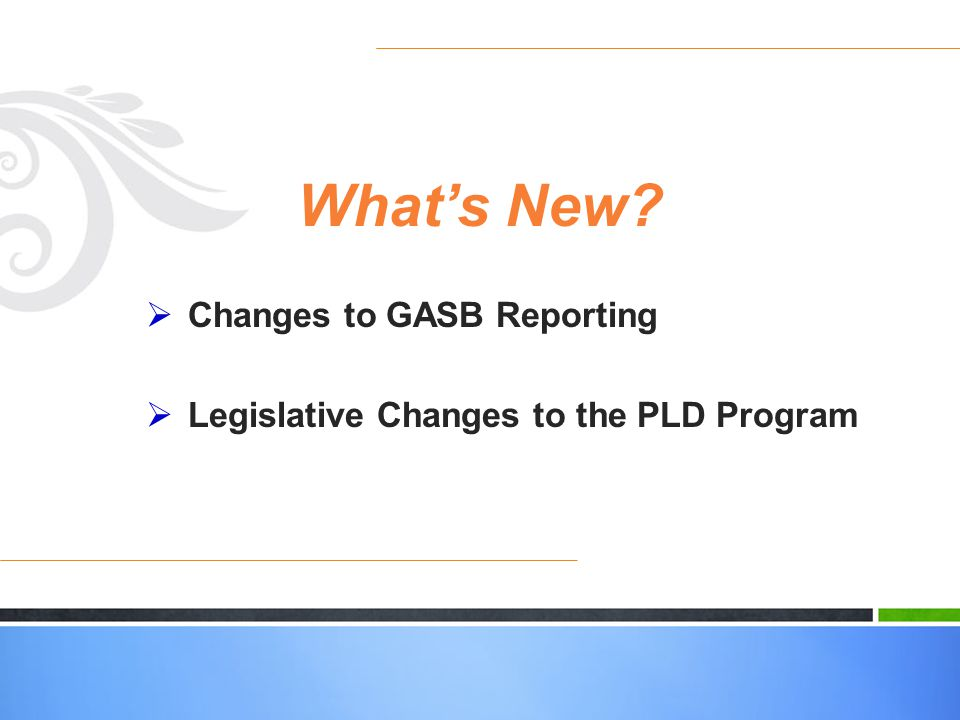 Whats New? Changes to GASB Reporting Legislative Changes to the PLD Program