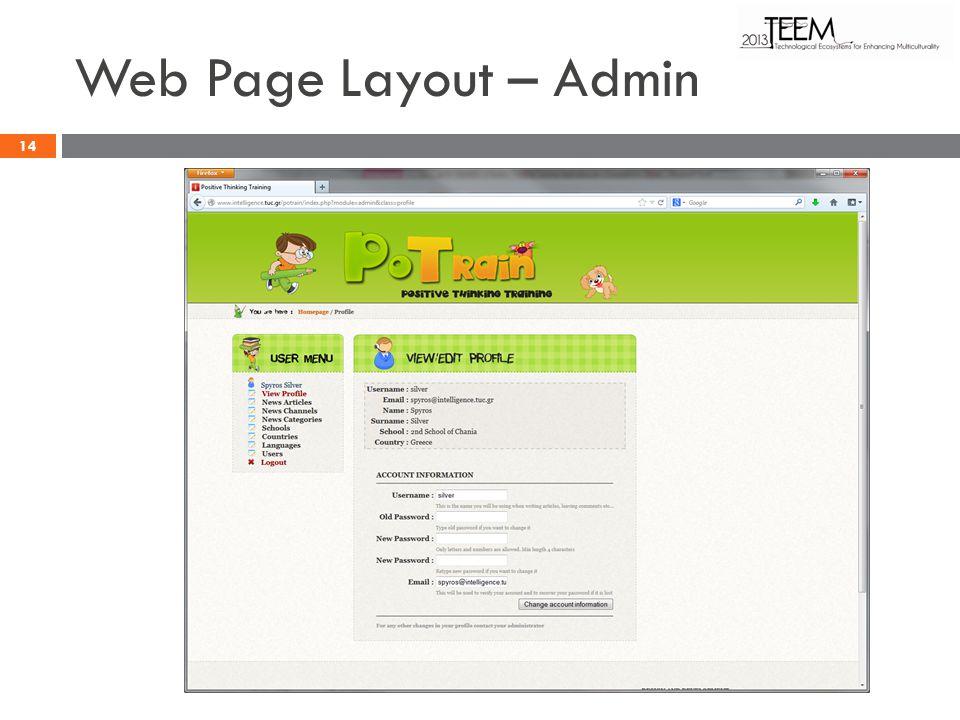 Web Page Layout – Admin 14