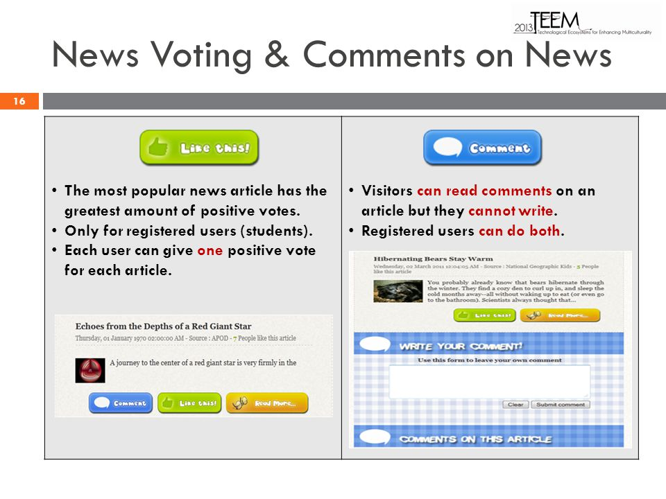 News Voting & Comments on News The most popular news article has the greatest amount of positive votes. Only for registered users (students). Each use