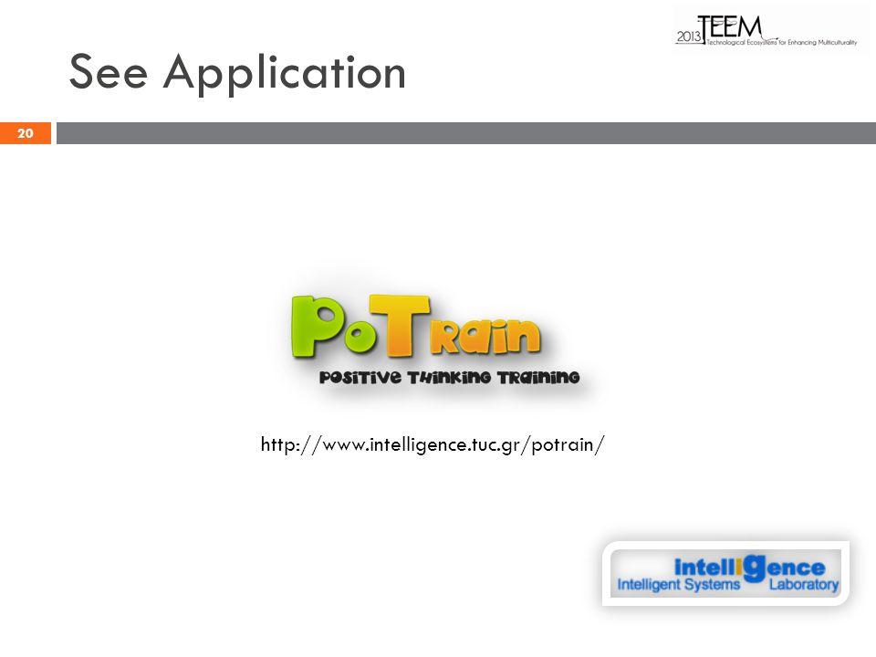 See Application http://www.intelligence.tuc.gr/potrain/ 20