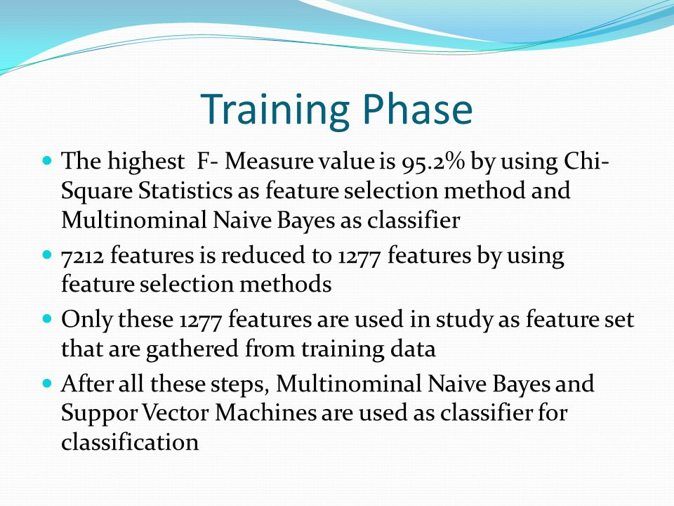 Training Phase The highest F- Measure value is 95.2% by using Chi- Square Statistics as feature selection method and Multinominal Naive Bayes as class