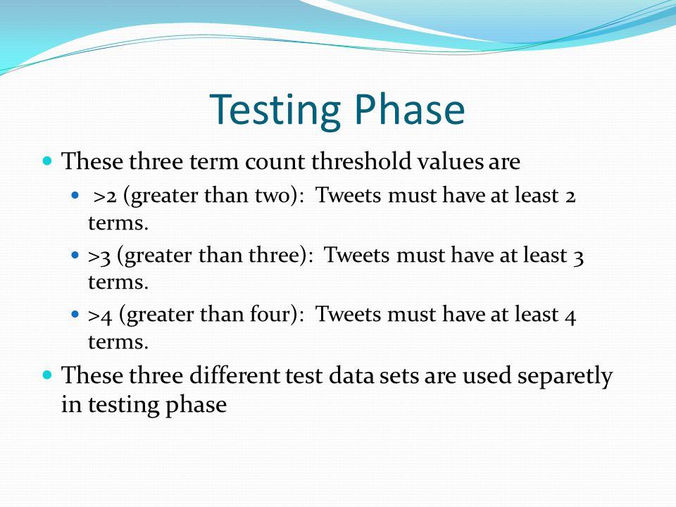 Testing Phase These three term count threshold values are >2 (greater than two): Tweets must have at least 2 terms.