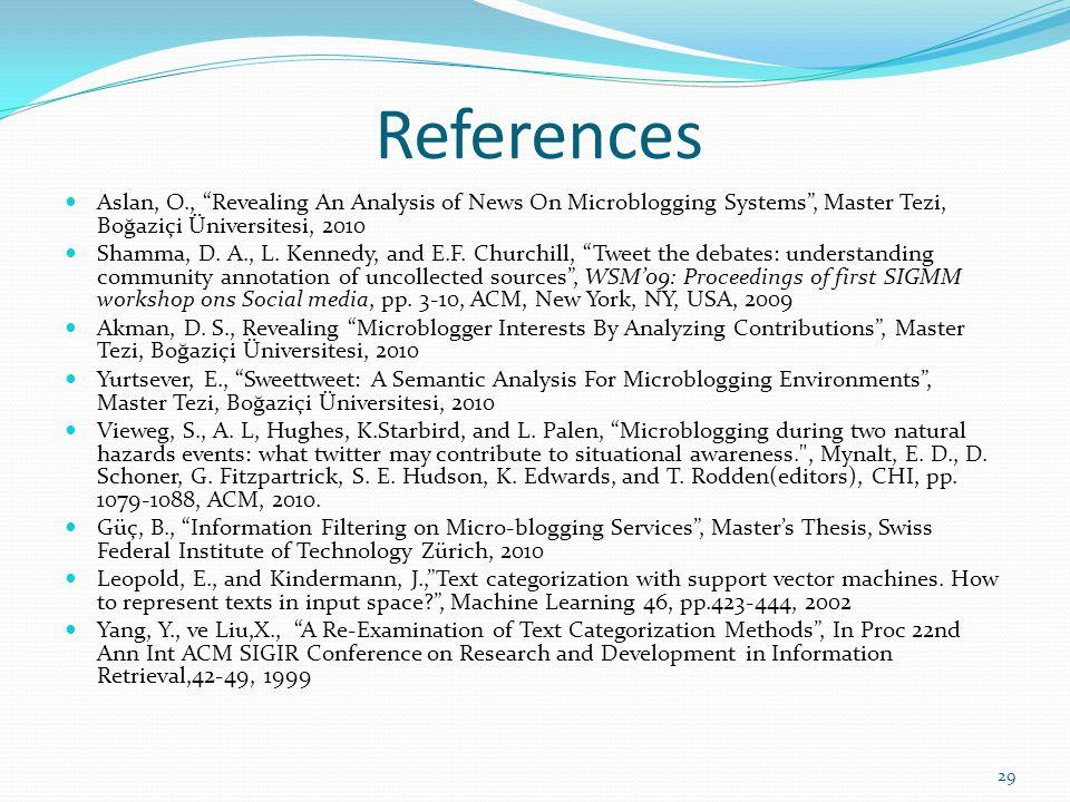 References Aslan, O., Revealing An Analysis of News On Microblogging Systems, Master Tezi, Boğaziçi Üniversitesi, 2010 Shamma, D. A., L. Kennedy, and