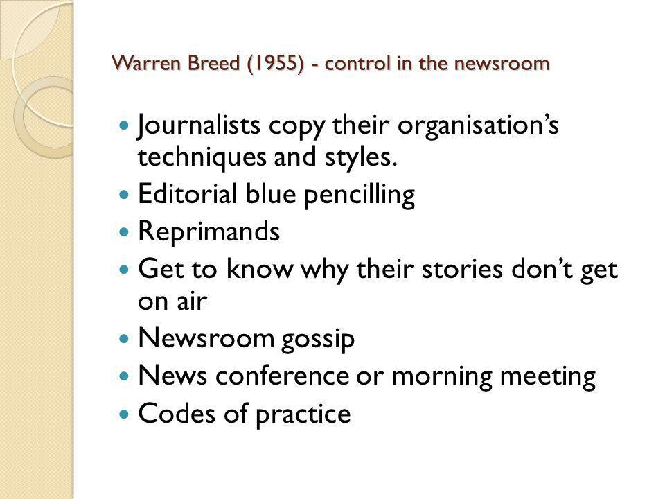 Warren Breed (1955) - control in the newsroom Journalists copy their organisations techniques and styles.