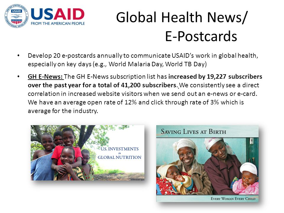 Global Health News/ E-Postcards Develop 20 e-postcards annually to communicate USAIDs work in global health, especially on key days (e.g., World Malar