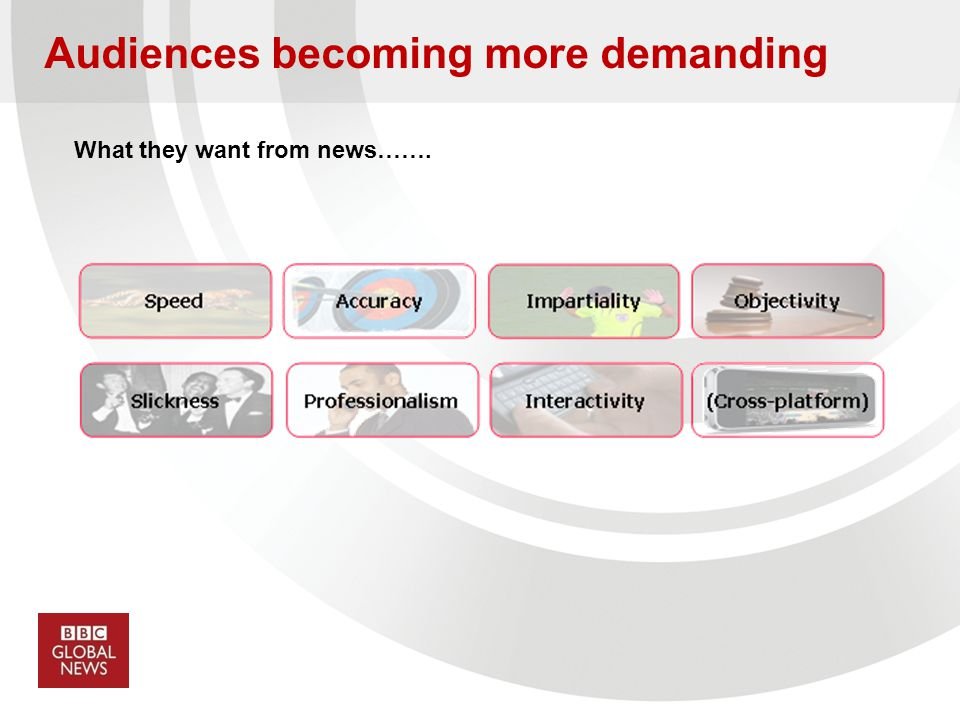 Audiences becoming more demanding What they want from news…….